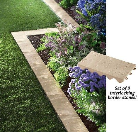 Set Of 8 Snapping Stone Garden Border, How To Make Stone Garden Edging