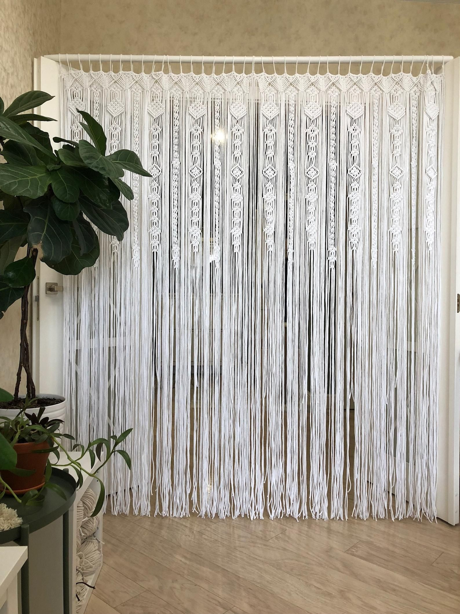 Large Macrame Door Curtains Of 2 Or 1 Panels Macrame Window Etsy Macrame Door Curtain Beaded Door Curtains Door Curtains