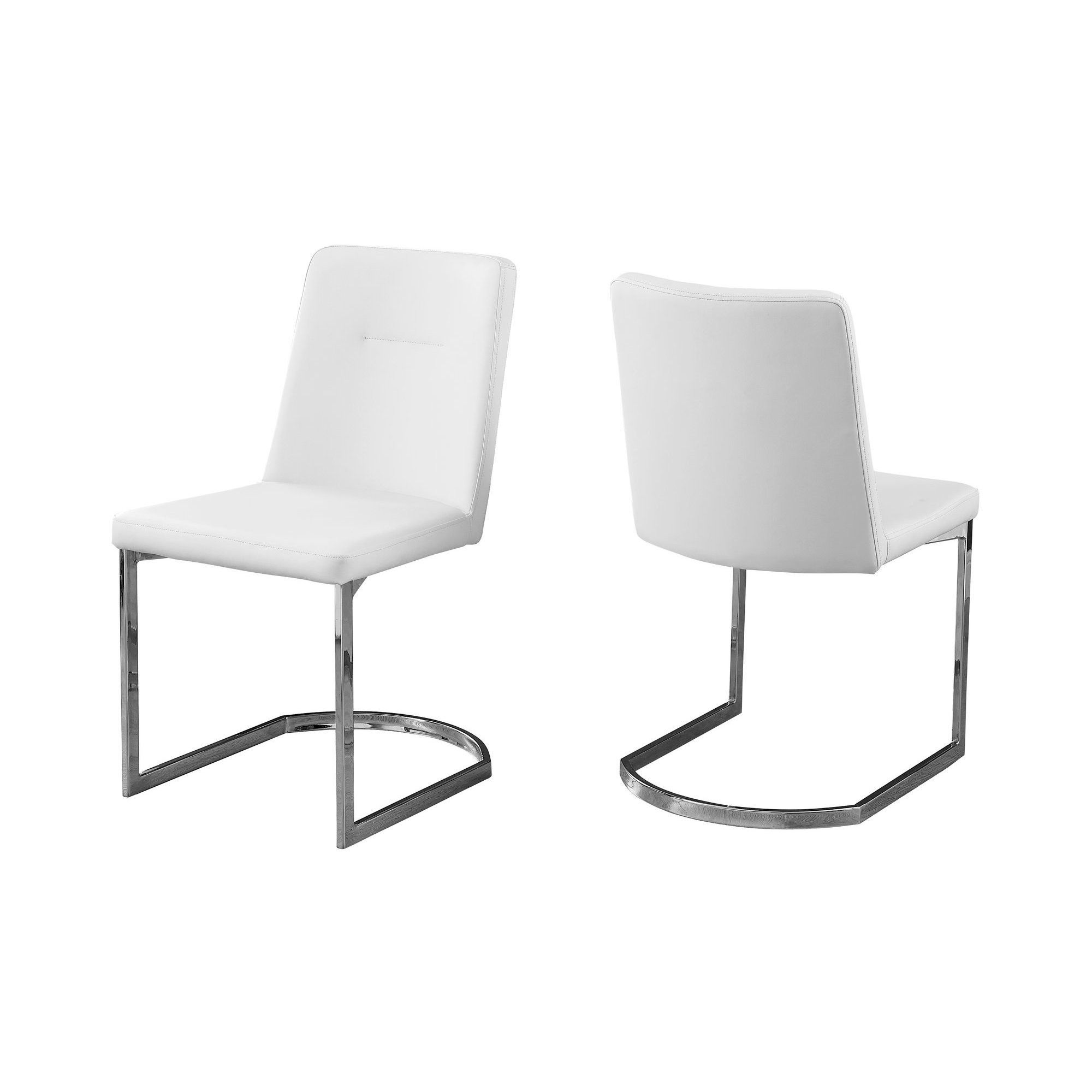 Dining Chair White Leather Chrome Everyroom Products