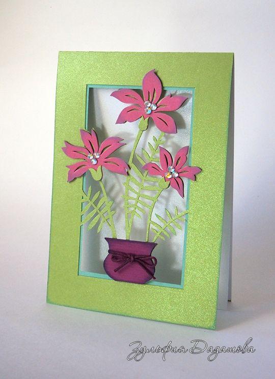 Как украсить открытку цветами из бумаги, надписью