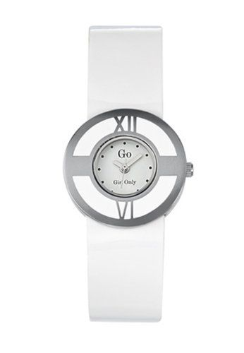 Go Women's 697664 White Dial Two-Tone White Patent Leather Watch Go. $62.99. Quartz movement. Steel buckle clasp. Black patent leather strap. Second hand feature. White stones in case