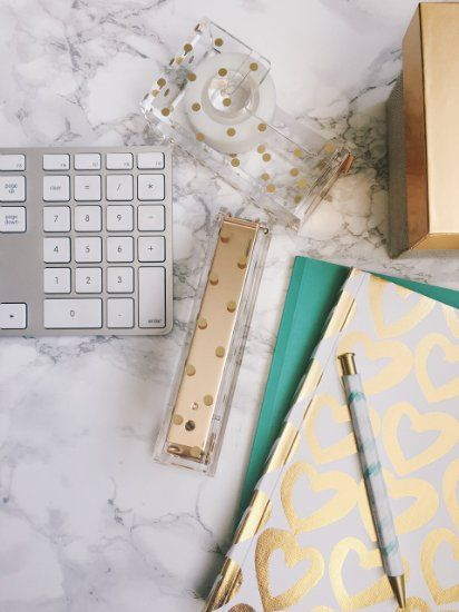 Gold Polka Dot Acrylic Stapler   Chic And Modern Desk And Office Supplies