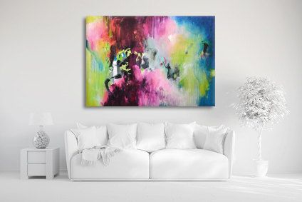 TITLE: Staycation  Original fine art acrylic painting on stretched Canvas.  +++++++++++++++++++++++++++++++++++++++++++  STRETCHED ON WOODEN FRAME & READY TO HANG  +++++++++++++++++++++++++++++++++++++++++++  It can be hung horizontally or vertically.  SIZE: 90 cm x 130 cm (35.43 inch x 51.18 inch), the canvas is 0.79 inch deep.  A clear glossy coating has been applied to the surface to protect the painting from UV light, moisture and dust. Staples are on the back and the edges are painted…