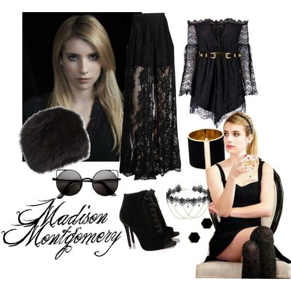 Madison Montgomery ahs coven by shannonbol on Polyvore featuring polyvore, fashion, style, Anja, Alexis, Tabitha Simmons, Dsquared2, Janna Conner Designs, Miss Selfridge, Surell, River Island, Coven, witch, tvshow and americanhorrorstory