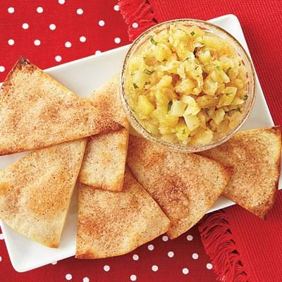 Easy snack idea! Cinnamon-Sugar Tortilla Crisps with Pineapple Salsa recipe