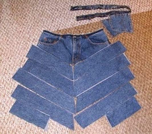 RECICLAGEM DE JEANS A reciclagem de jeans pode ser criativa e divertida. A criatividade é fundamental para que em termos estéticos não seja evidente que es