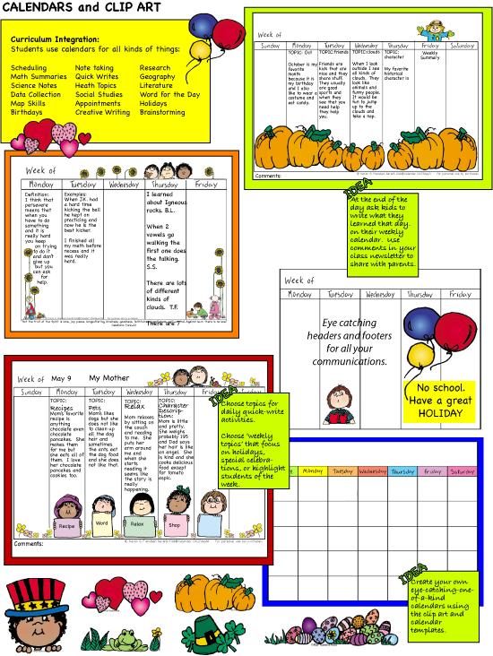 School Days Calendar Clip Art Calendar Set The Full Color And