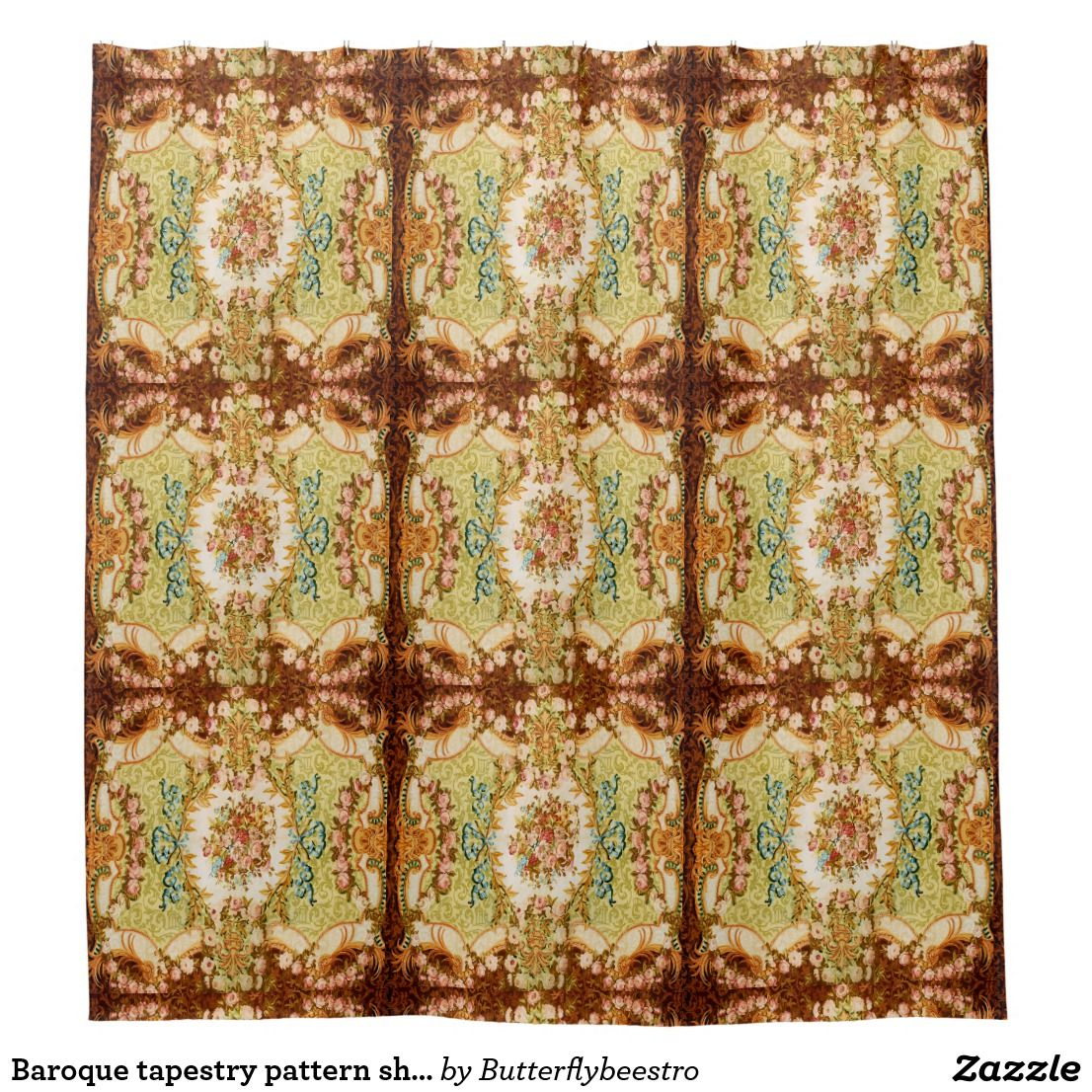 Baroque Tapestry Shower Curtain Zazzle Com Tapestry Patterned