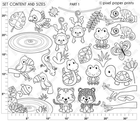 black and white forest animals coloring pages | Rainforest animals - Digital Stamps - Clipart | Digital ...