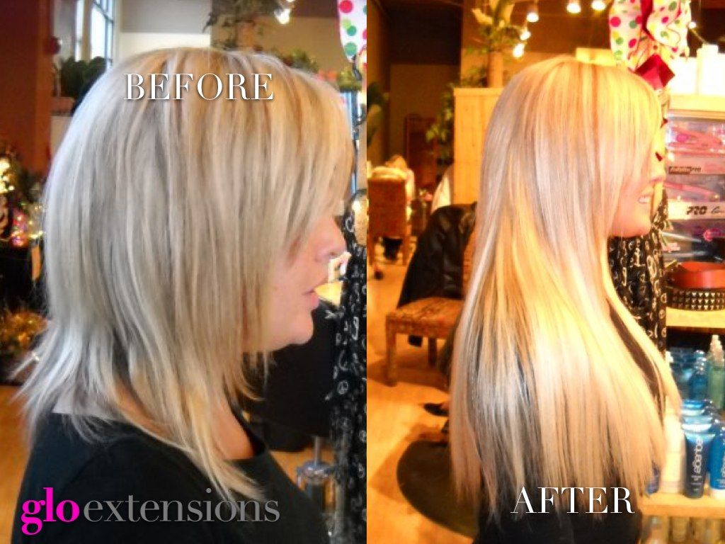 Hair Extensions Before & After by Glo Extensions Denver www.gloextensionsdenver.com