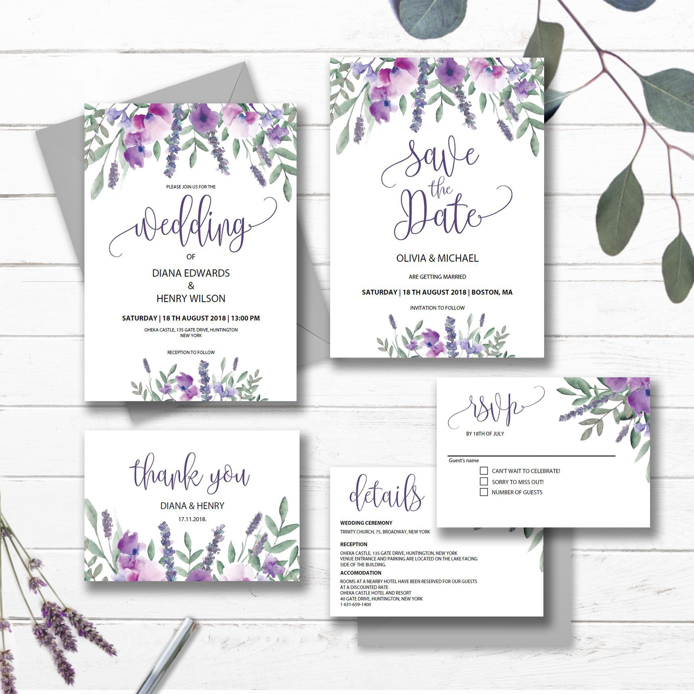 Purple Wedding Invitation Set Template Printable Lavender Floral