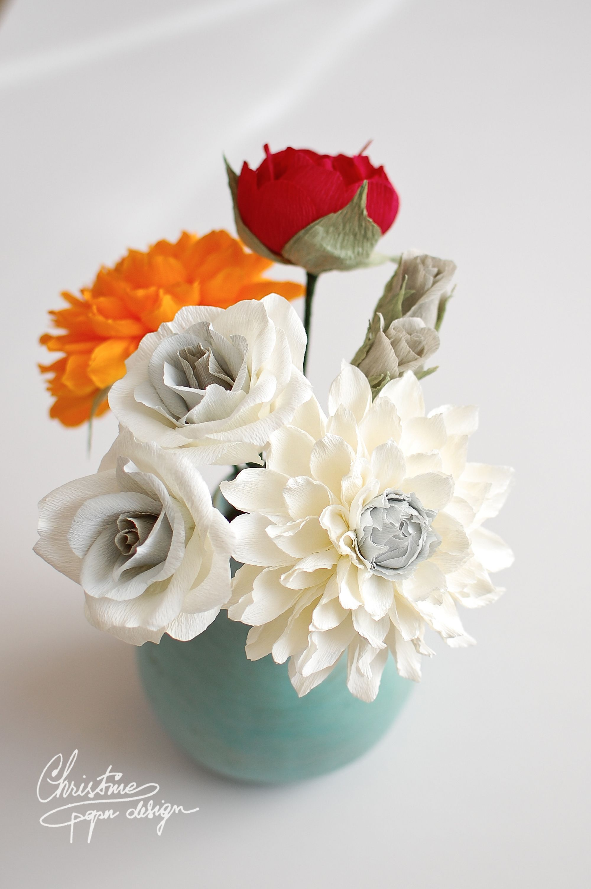 DIY paper flowers by Christine paper design. paper dahlia and roses ...