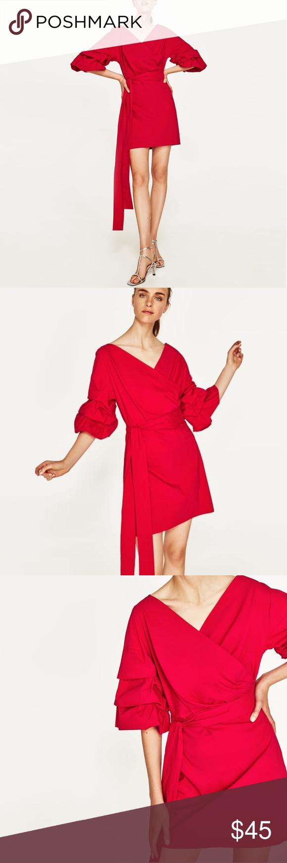 Zara red dress with ruffled sleeves xs nwt pinterest