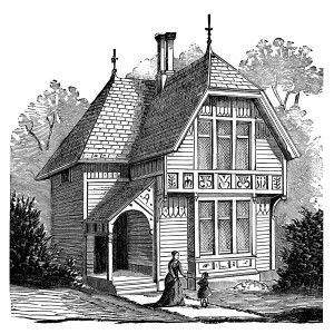antique house illustration, black and white clipart, victorian