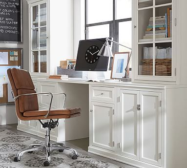 Logan Small Office Suite With Cabinet Doors Antique White Potterybarn