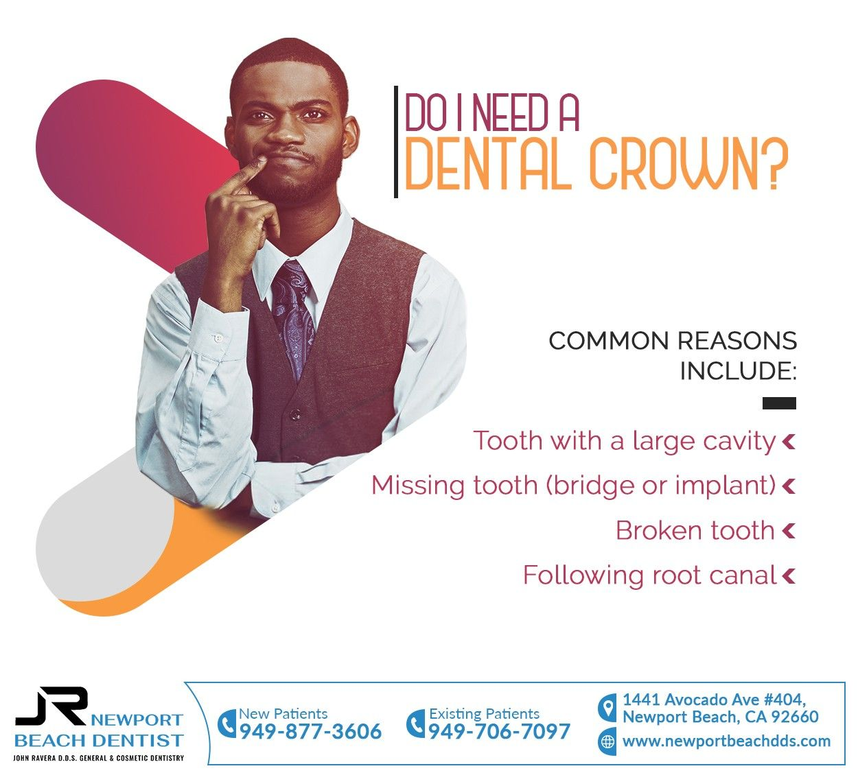 Dental crowns cover and protect teeth that are broken