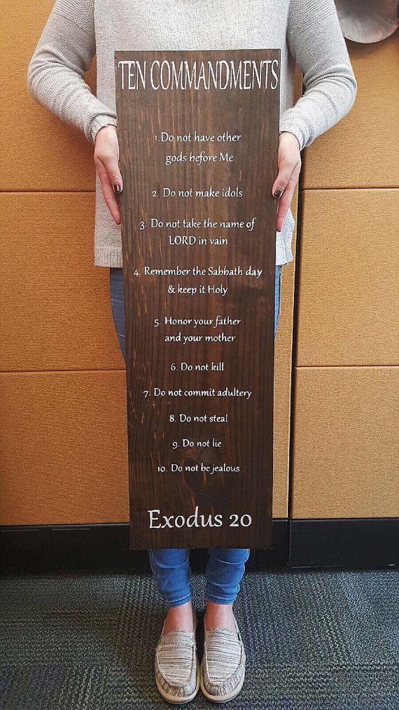 Ten Commandments Wooden Sign By Karavangeloskreation On Etsy Camo Home Decor Magnolia Home Decor Colonial Home Decor