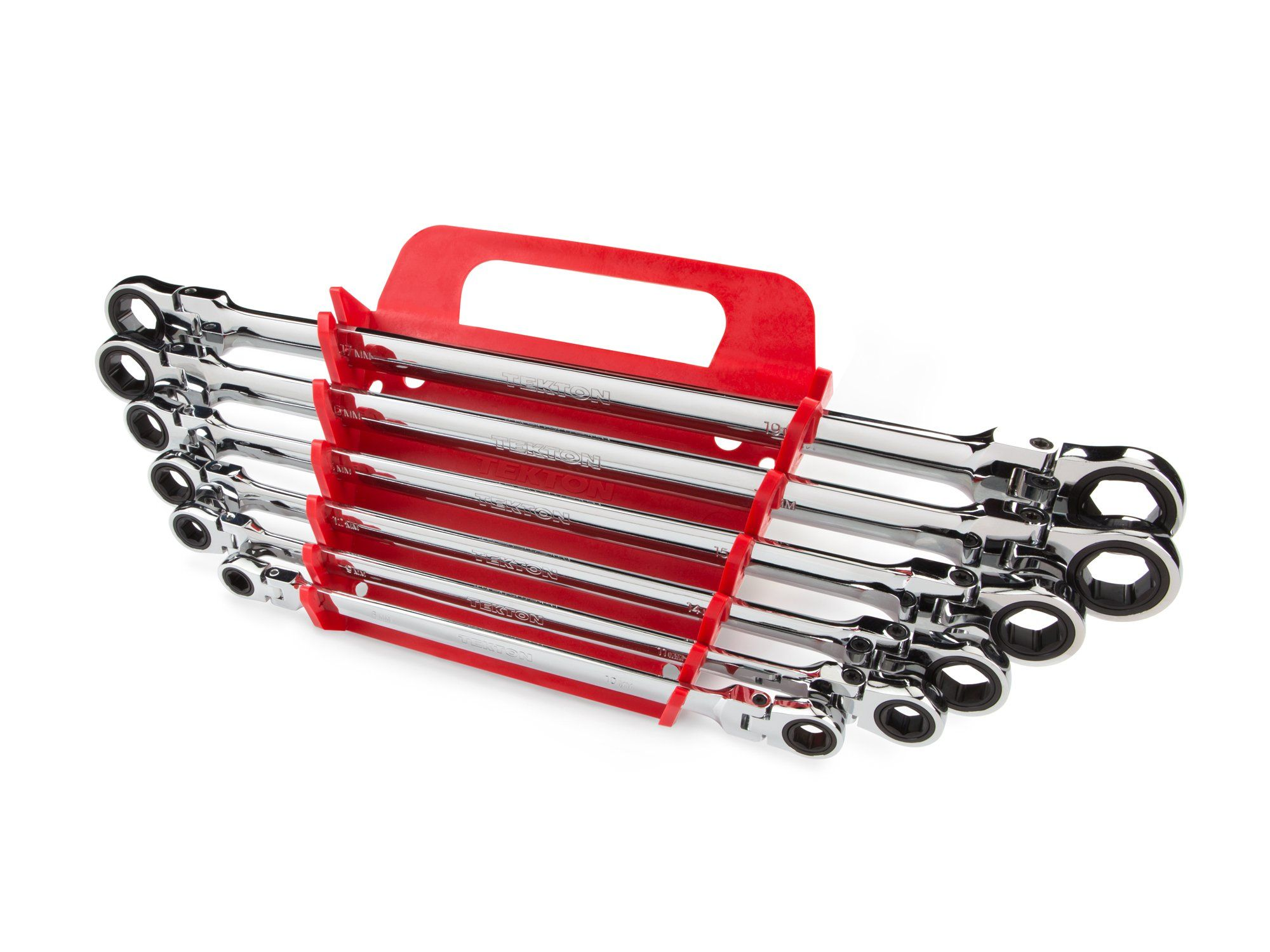TEKTON WRN77164 Extra Long Flex-Head Ratcheting Box End Wrench Set with Store and Go Keeper, Metric, 8 mm - 19 mm, 6-Piece