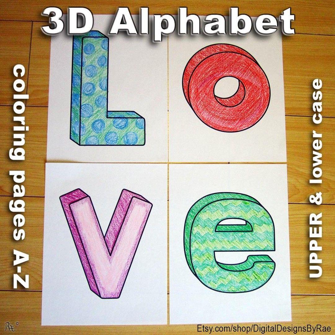 3d Alphabet Coloring S Ift 2cprzk4 Alphabet