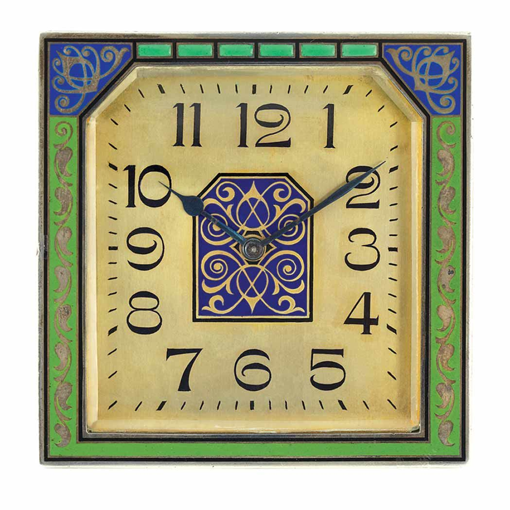 Art Deco Silver, Gilt-Metal and Blue and Green Enamel Desk Clock ...