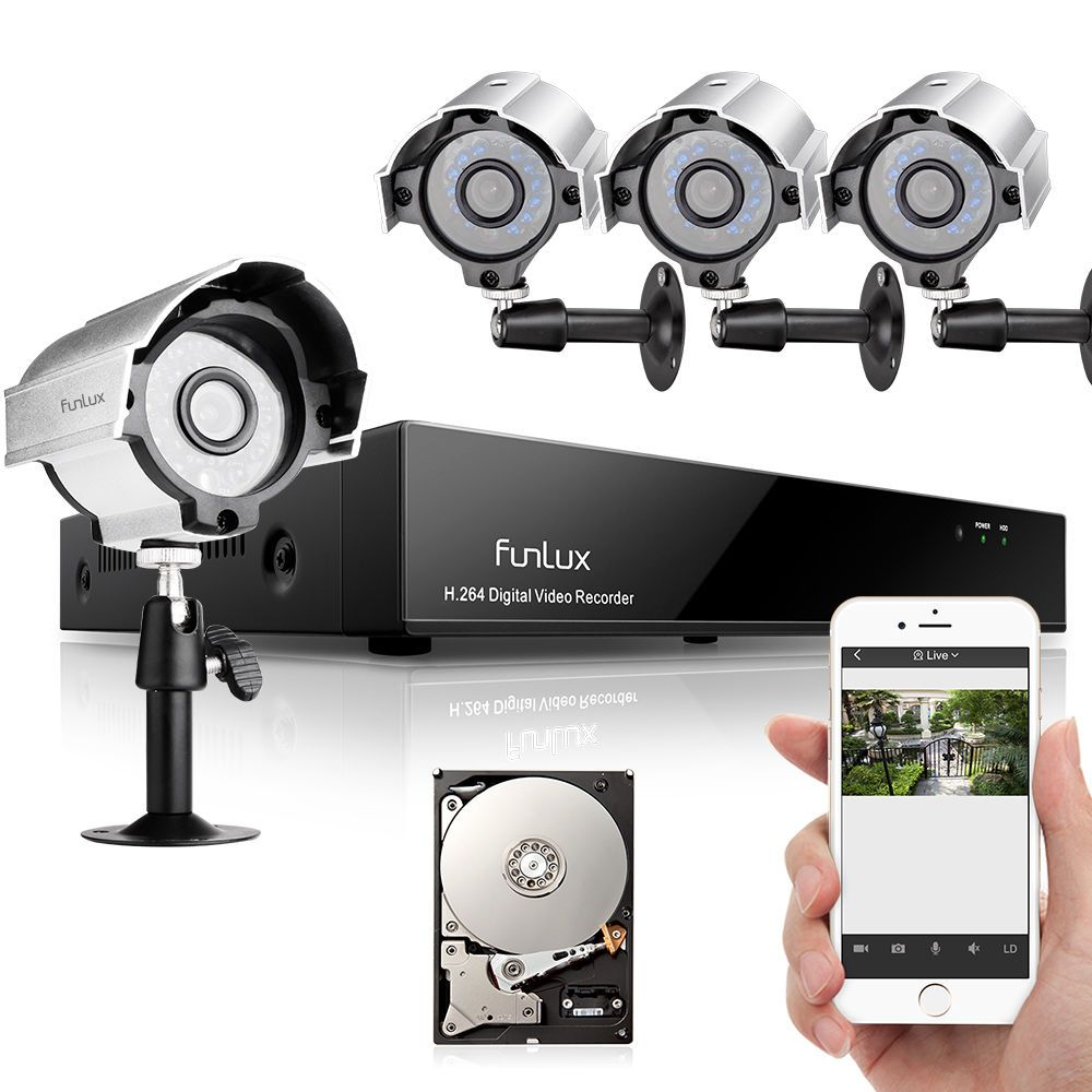 Funlux 1080P 4CH NVR 4 720p HD Outdoor Video Network Home Security ...