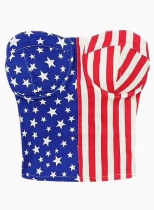 afb3fbaeb6 American Flag Tube Crop Top