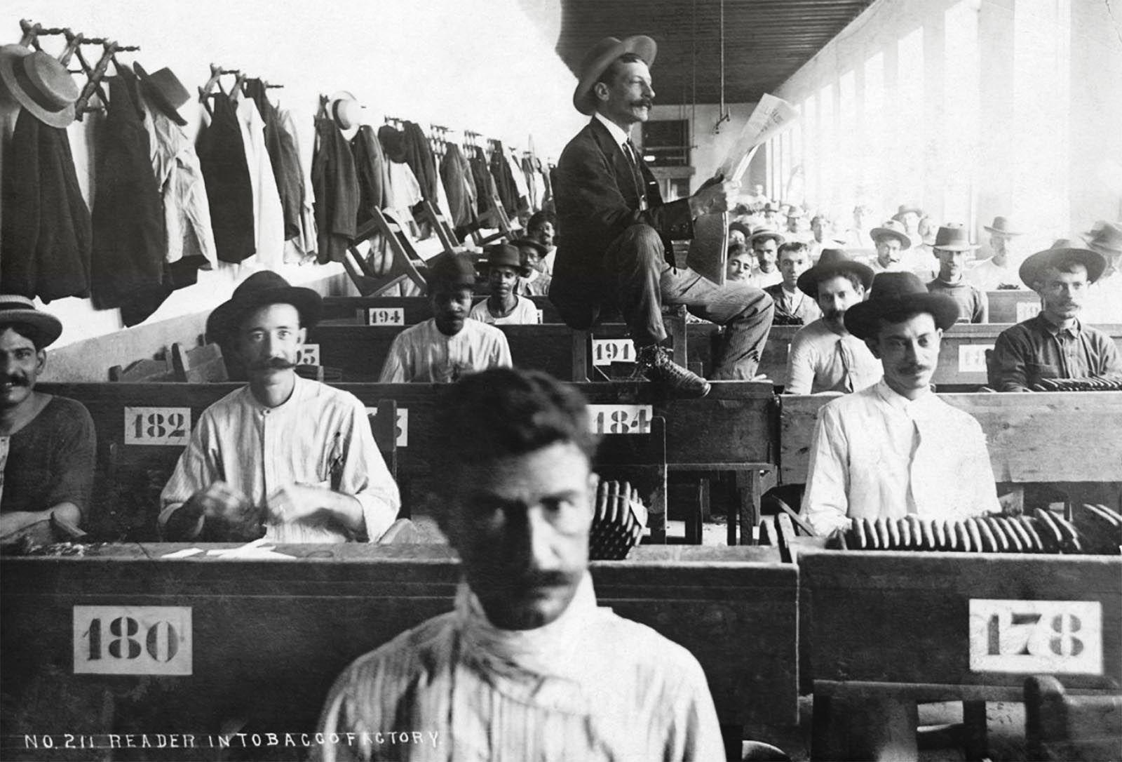 Nei primi giorni del lettore, molti dipendenti nelle fabbriche di sigari, sia maschi che femmine, erano analfabeti. C'era una grande sete di conoscenza. I lettori leggevano romanzi determinat…
