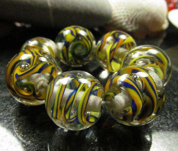 Lampwork glass bead set Polytwists by KitzbitzArtBeads on Etsy, £19.00