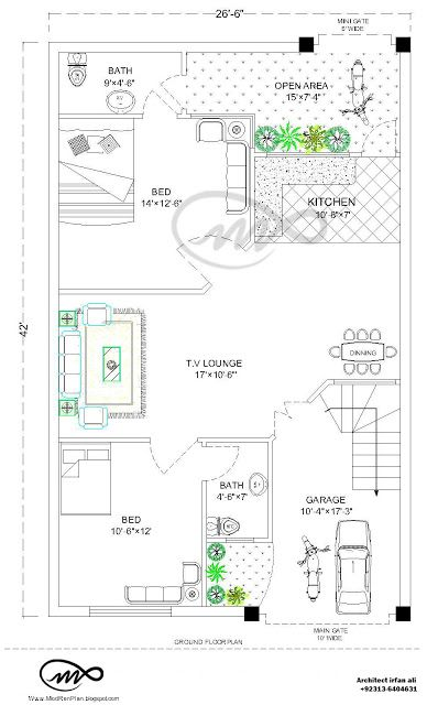 27x36 | 1000 Square Feet | 3.5 Marla House Plan And Map 27x36 feet House plan that contain two Bed with attach Bath, Open kitchen , T.V Lounge ,Dinning area ...