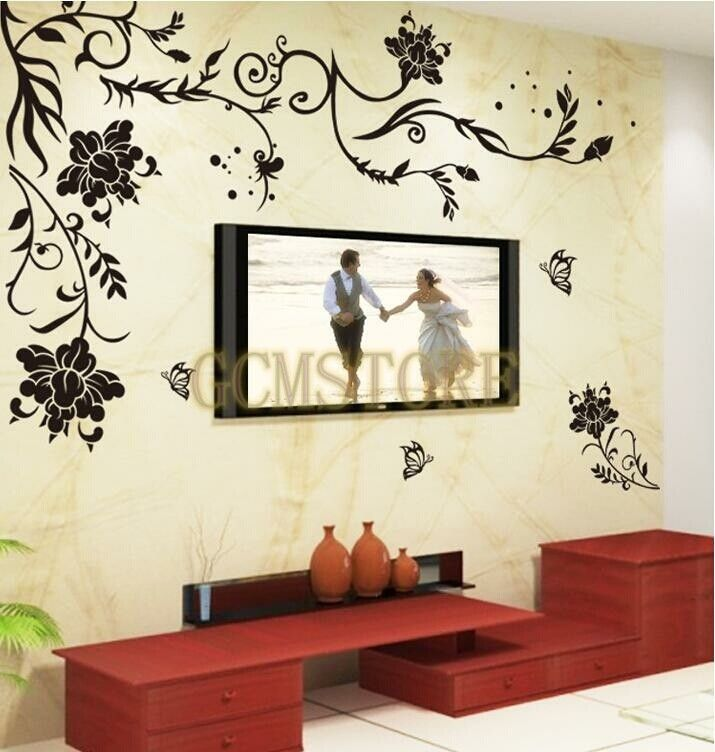 Black Flower Vine TV Backdrop Creative Design Wall Stickers u0026 Decals #wallstickers #walldecals #adults #teens #boys #girls #babies #kids #nursery #disney ... & Black Flower Vine TV Backdrop Creative Design Wall Stickers u0026 Decals ...