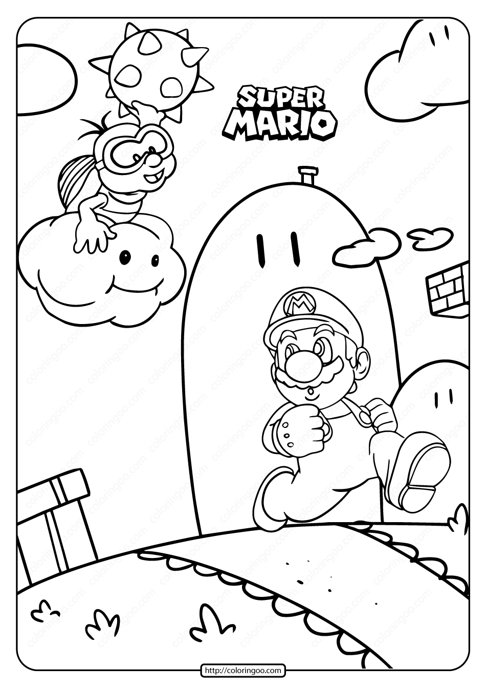 Free Printable Super Mario Game Coloring Page Mario Coloring Pages Super Mario Coloring Pages Coloring Pages