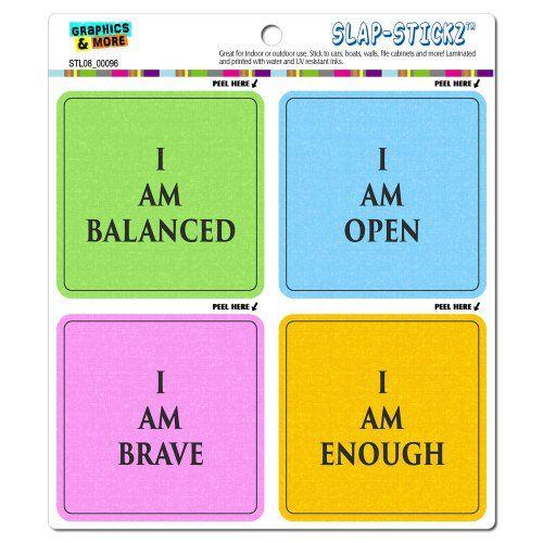 #Yoga Affirmations I Am Open Enough Brave Balanced SLAP-STICKZ(TM) Automotive Car Window Locker Bumper Stickers $4.99