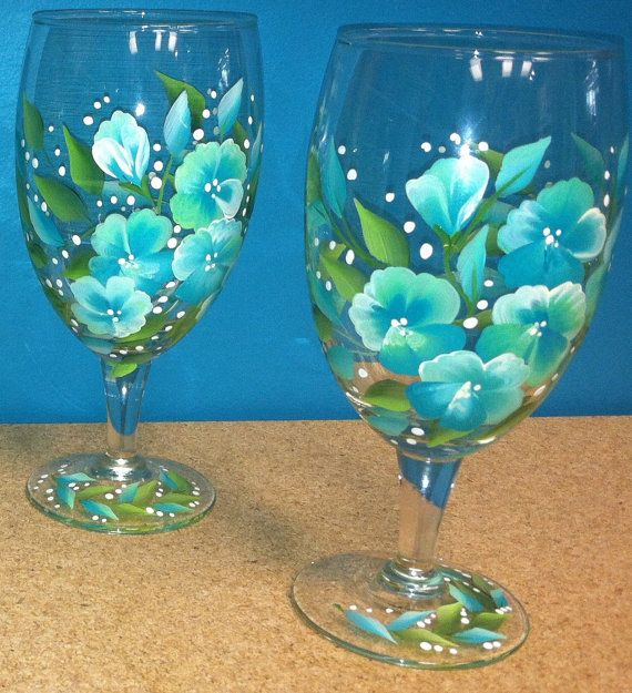 Set Of 4 Hand Painted Water Glass By Longsbeachboutique On Etsy 26 50 Painted Wine Glass Hand Painted Wine Glasses Painted Wine Bottles