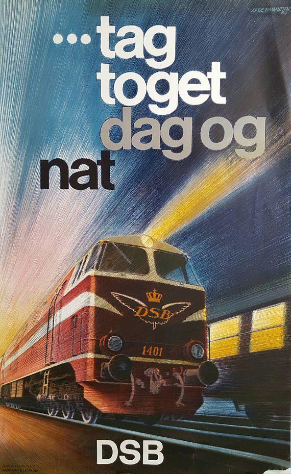 1972 Danish Railways By Aage Rasmussen Original Vintage Train Posters Vintage Posters Old Advertisements