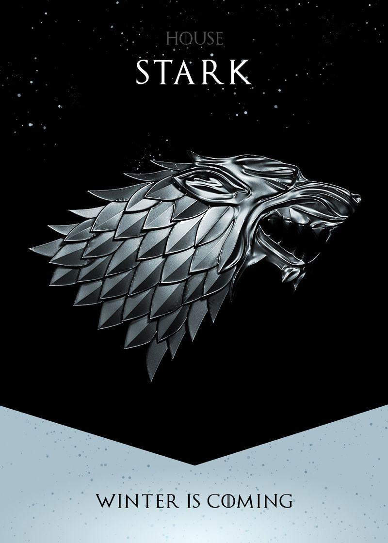Winter Is Coming Metal Poster Nikita Abakumov Displate House Stark Game Of Thrones Artwork Game O Thrones