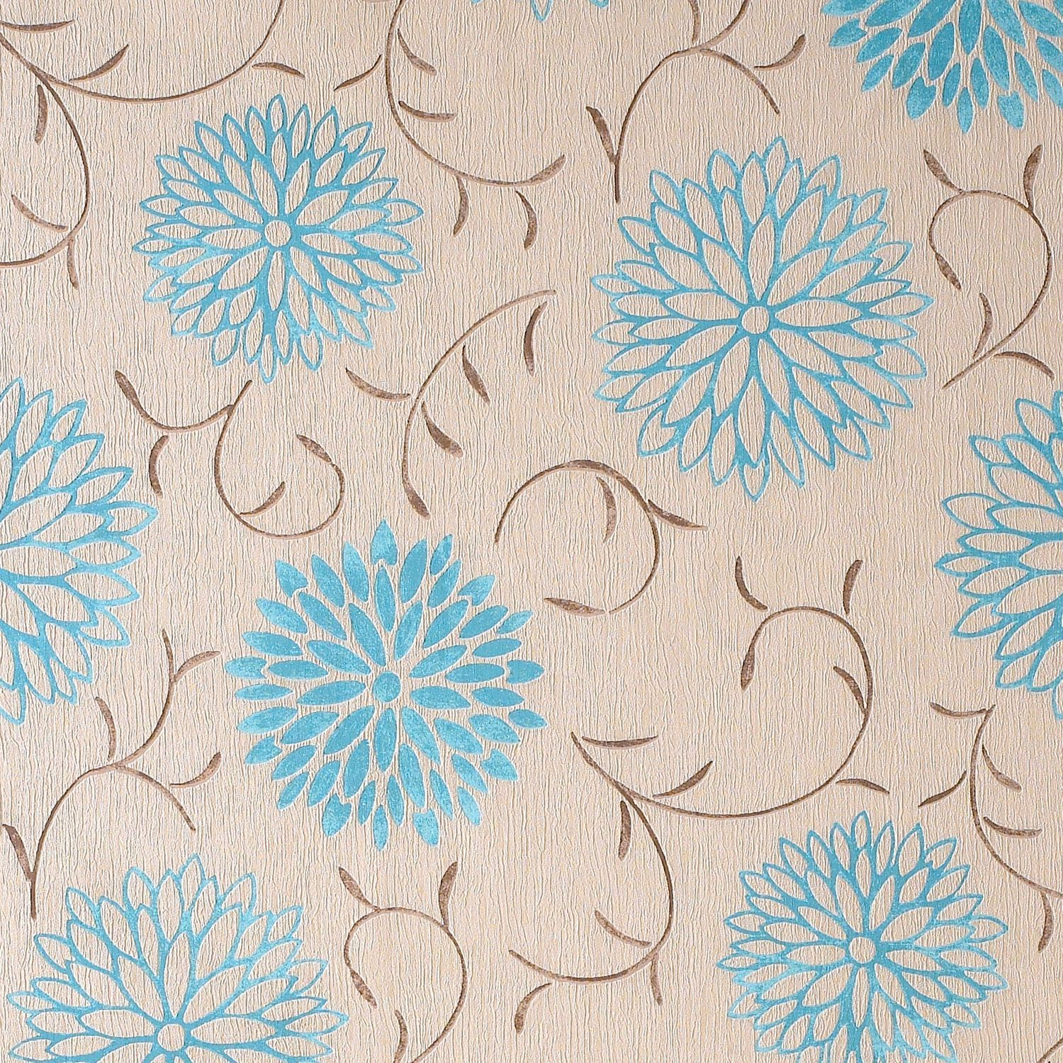 Colours Paste The Wall Romantic Cream Teal Wallpaper