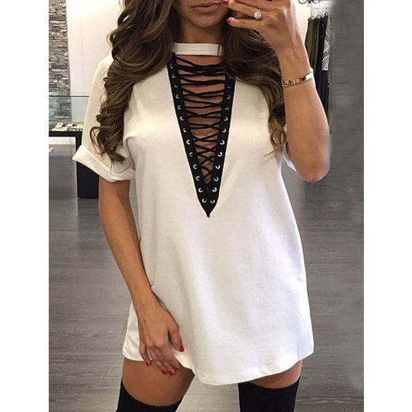 413287c69fb4 Club Style Deep V-Neck T-Shirt Dress with Lace Up Detail ( 7.80 ...
