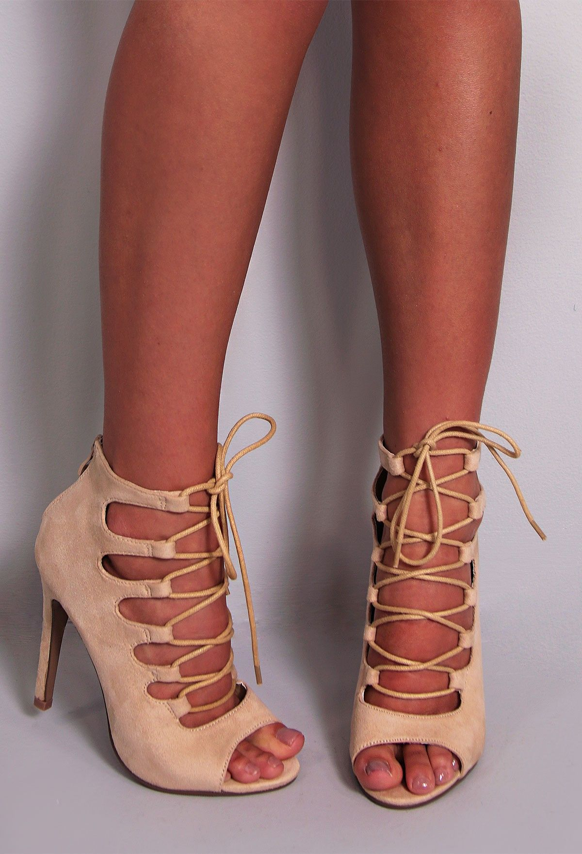 5c18f7ae53dc Kylie cream suedette lace up  heels http   www.pinkboutique.co