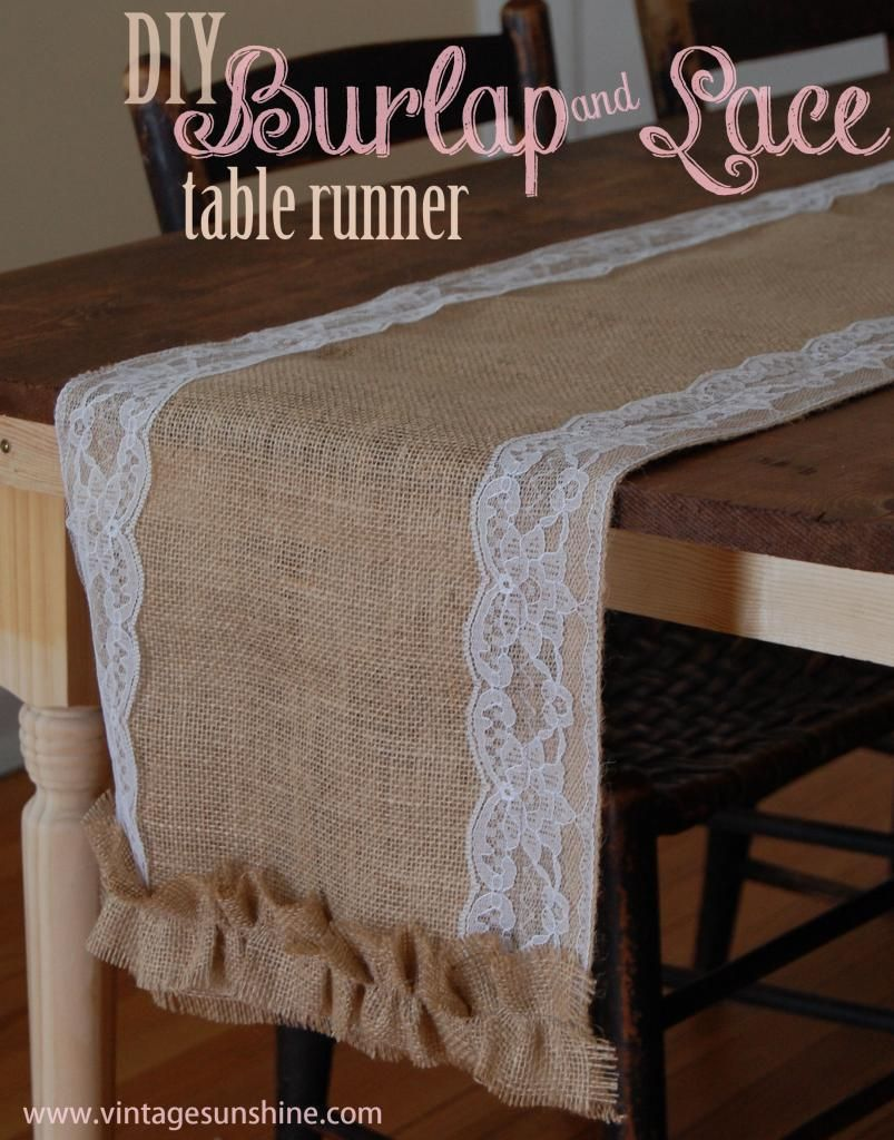 Diy burlap lace table runner and valentine 39 s day for Diy valentine table runner