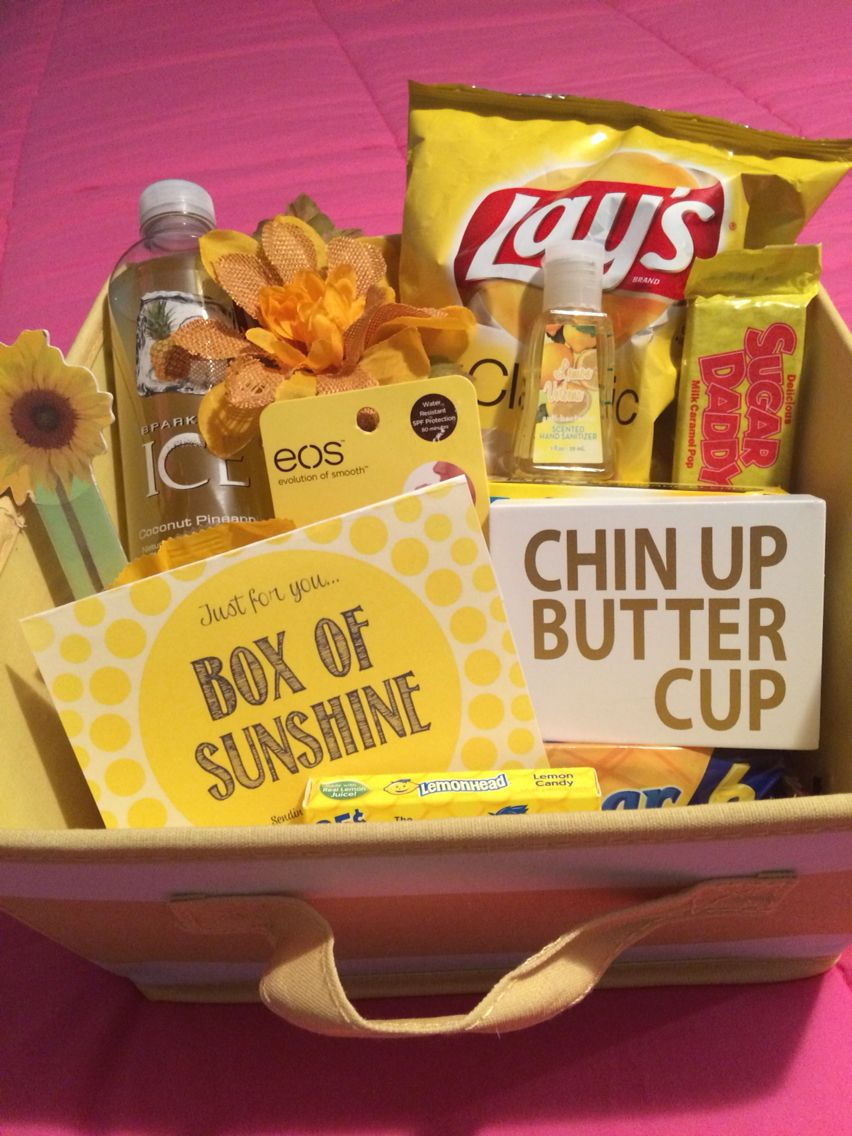 Box of sunshine anything yellow to cheer someone up or