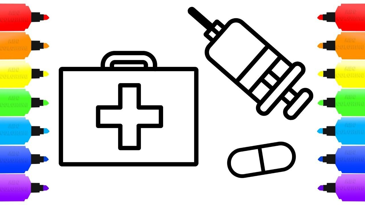 How To Draw Doctor Kit For Children Medicine Coloring Book For