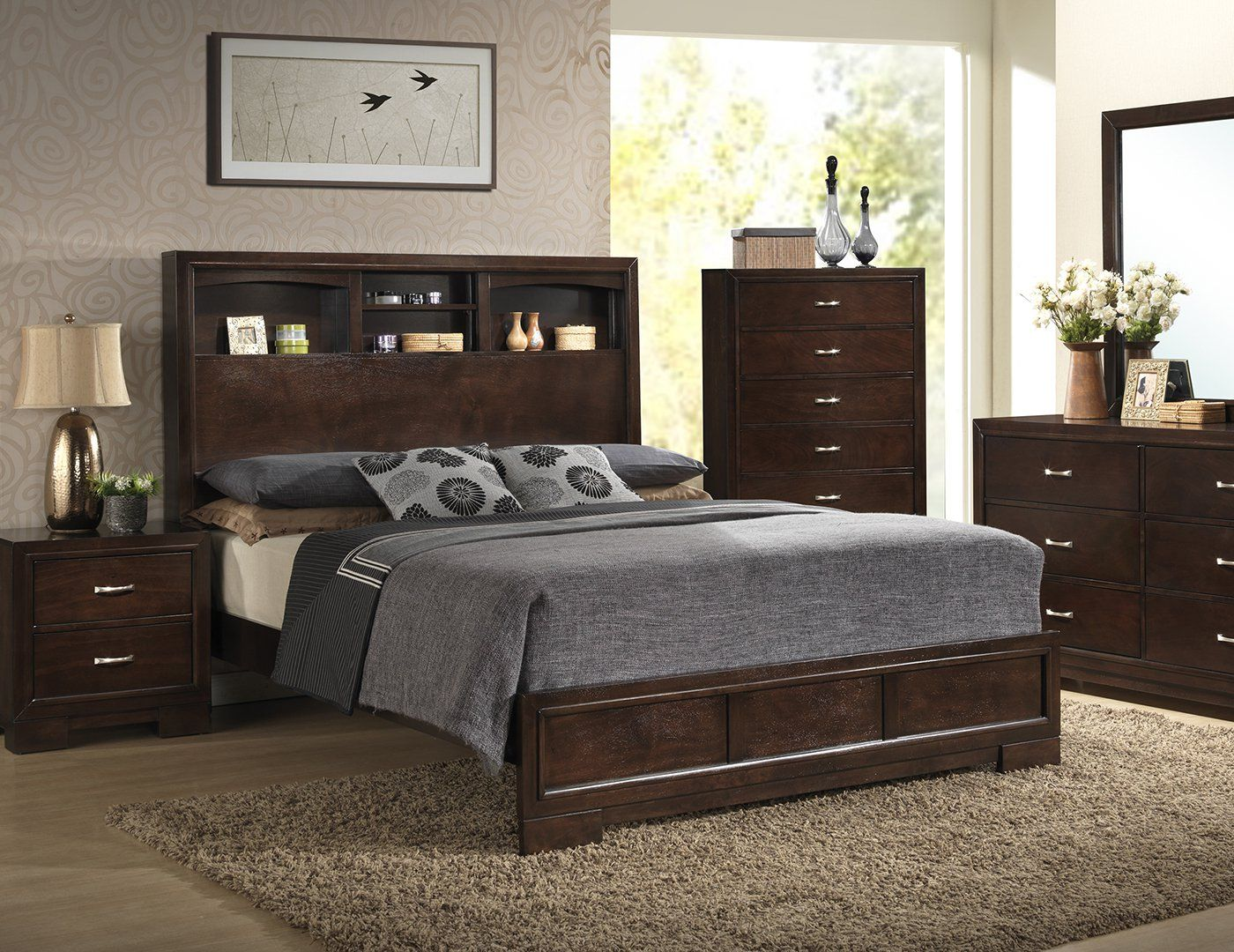 Harper queen bookcase headboard bed steinhafels house - Bedroom furniture bookcase headboard ...