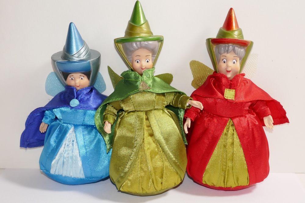 Disney Store Sleeping Beauty Fairy Godmothers Flora Fauna