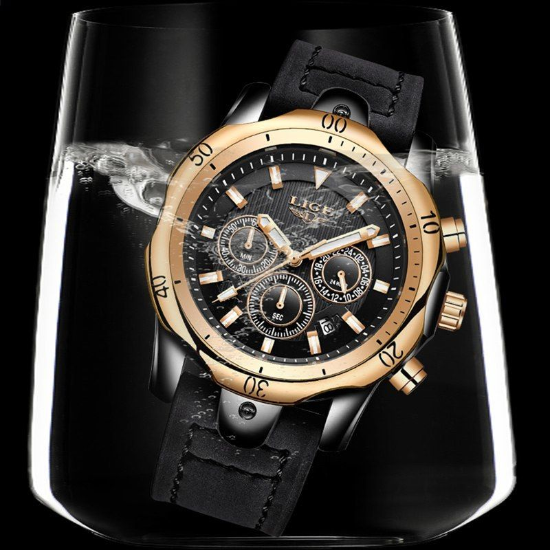 154363d2738 Muži hodinky Nejlepší luxusní značka LIGE Pánské Sport Vodotěsné Quartz  hodinky Obchodní Big Dial Módní příležitostné černé kožené Hodinky Muž