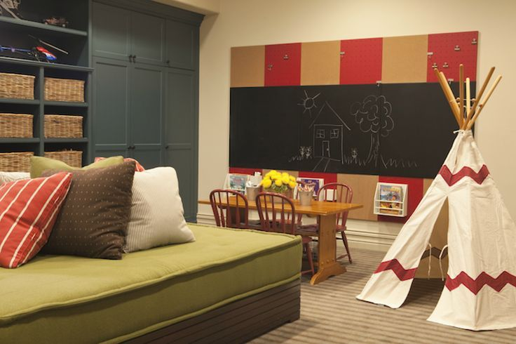 basement playroom   source: Taylor Borsari Basement playroom with floor to ceiling blue ...
