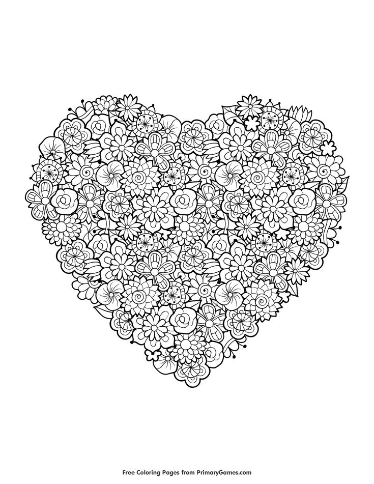 Valentines Day Coloring Pages EBook Floral Heart