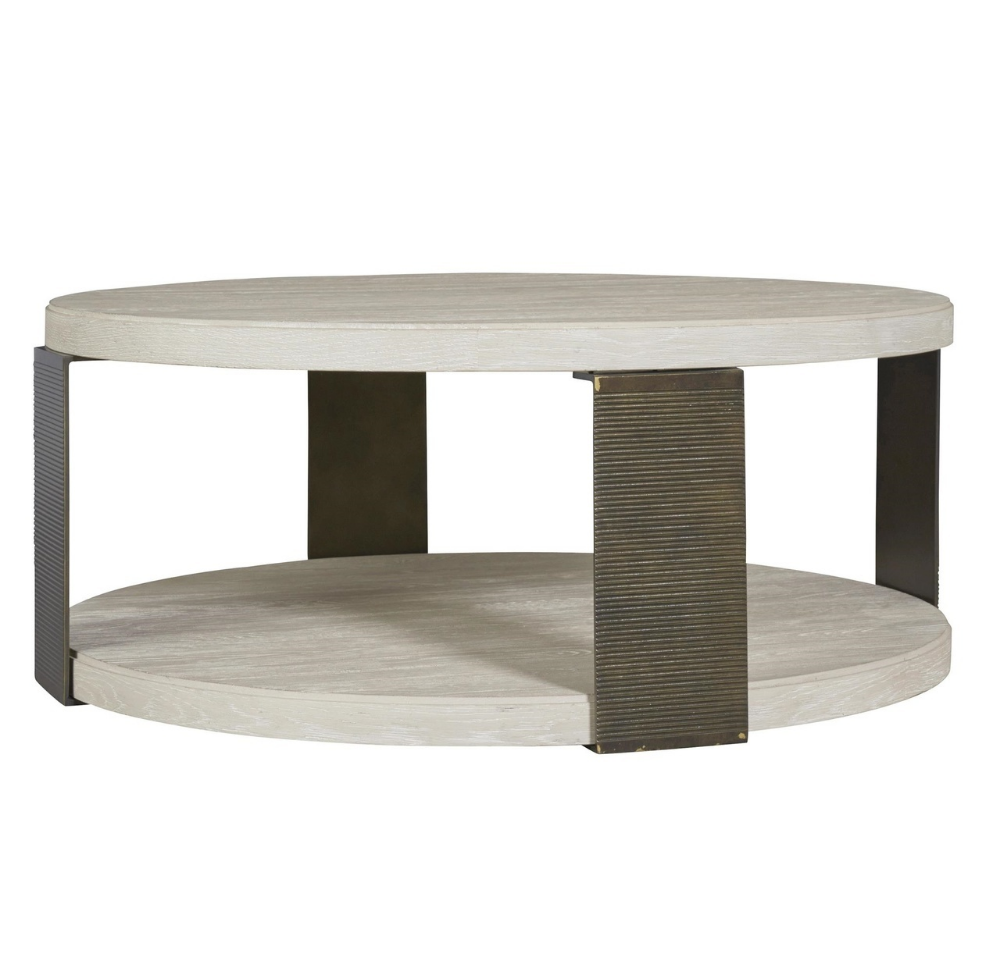 Modern Grey Oak Wood Bronze Metal Round Cocktail Table Round Cocktail Tables Coffee Table Round Coffee Table