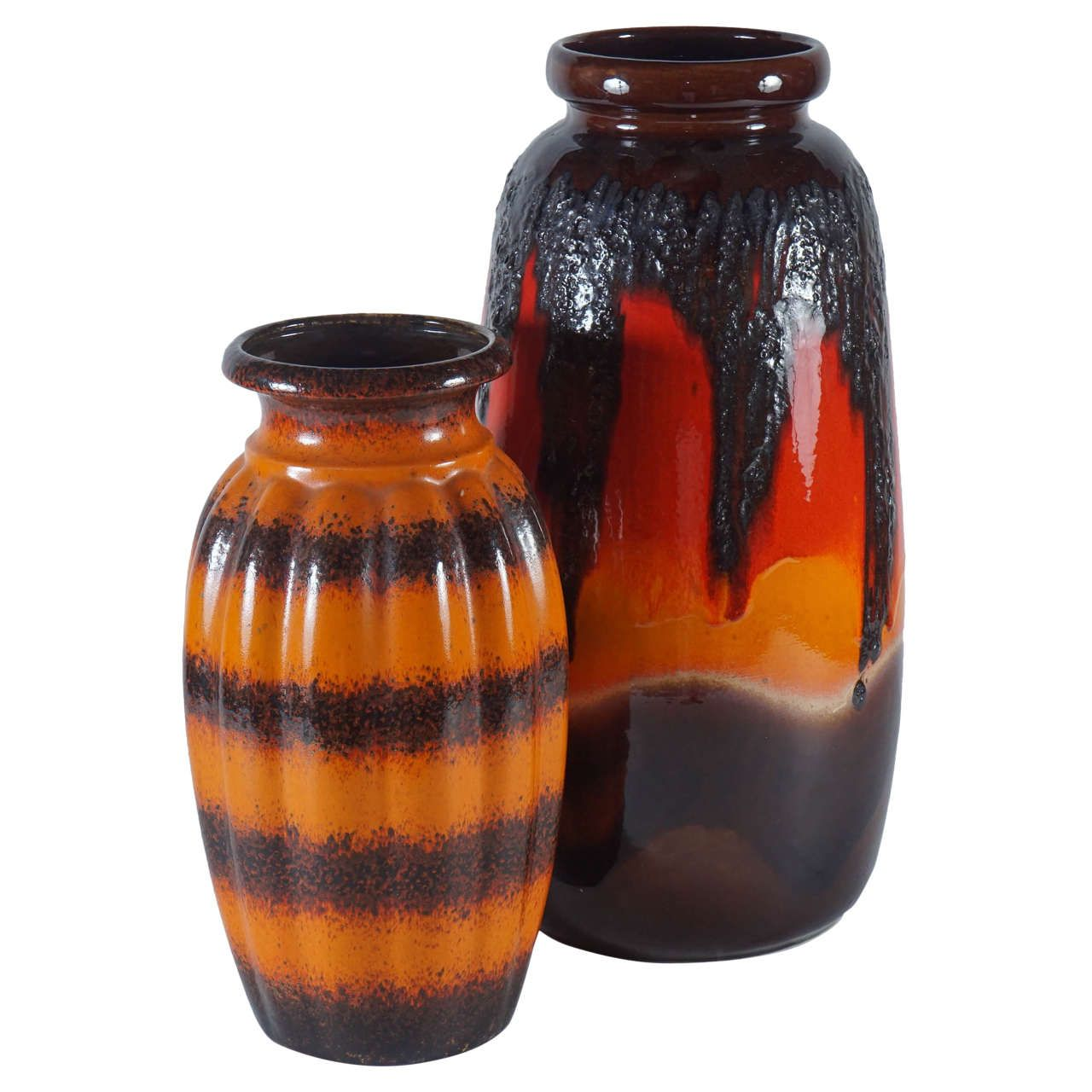 Pair of west german pottery vases in orange pottery vase pair of west german pottery vases in orange reviewsmspy