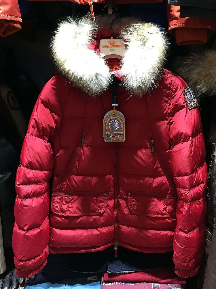 Parajumpers alaska women's hooded down jacket, 100% genuine, red, m