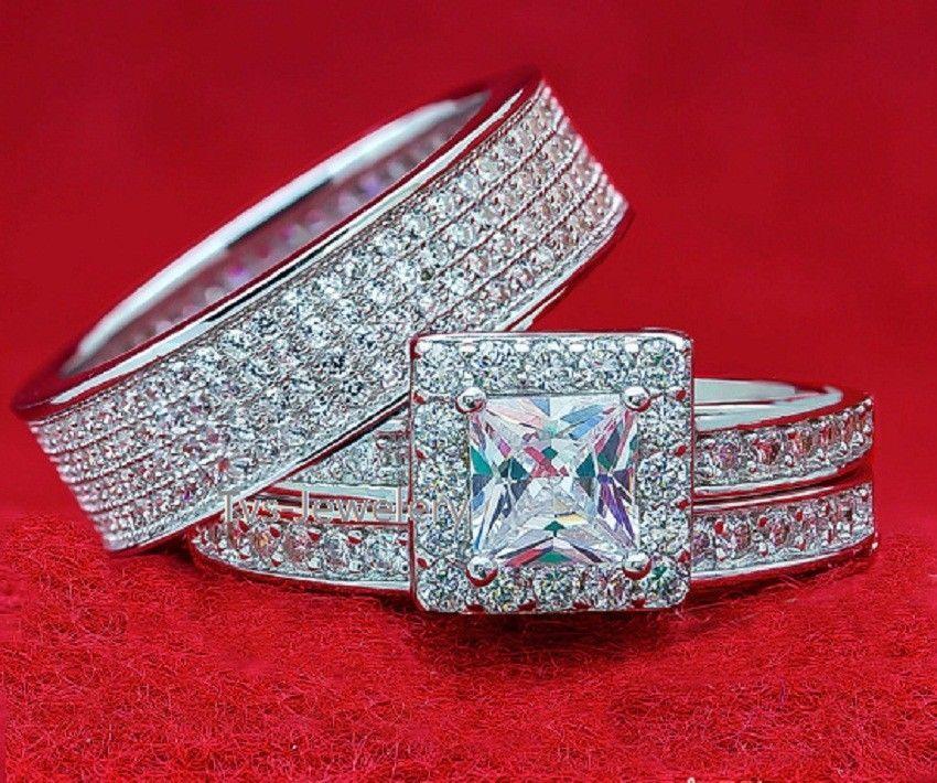 10k Yellow Gold On Real Silver Lab Diamond Wedding Engagement Ring Bridal Band
